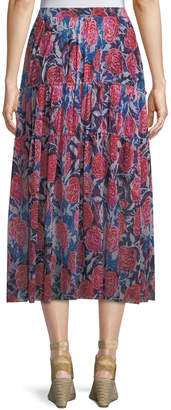 Fuzzi Rose-Print Tiered Maxi Skirt