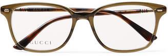 Gucci Square-Frame Acetate and Gold-Tone Optical Glasses - Men - Tan