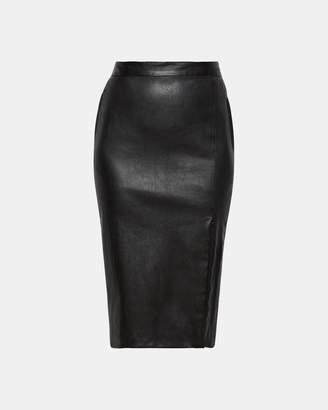 Theory Zip-Front Leather Pencil Skirt
