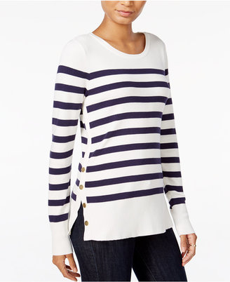Maison Jules Striped Button-Detail Sweater, Only at Macy's $69.50 thestylecure.com