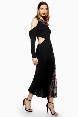 Topshop Womens Lace Insert Maxi Dress - Black