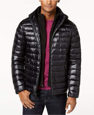 Calvin Klein Men Big & Tall Packable Down Puffer Jacket with Fleece Bib