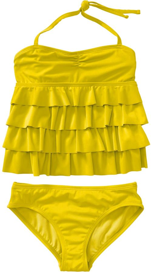 Old Navy Girls Ruffle-Tiered Halter Tankinis