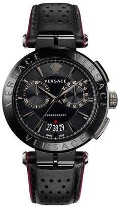 Versace Aion Chronograph Leather Strap Watch, 45mm