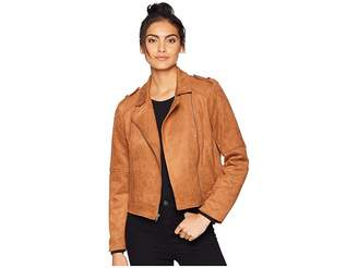 BB Dakota Get Lucky Faux Suede Scuba Moto Jacket