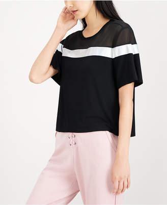 Material Girl Juniors' Striped Sheer-Inset Top