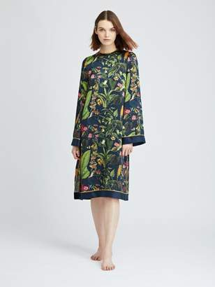 Oscar de la Renta Toucan Jungle Silk-Charmeuse Caftan