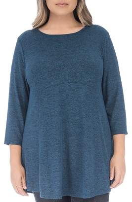 Bobeau B Collection by Curvy Brushed High/Low Tunic Top