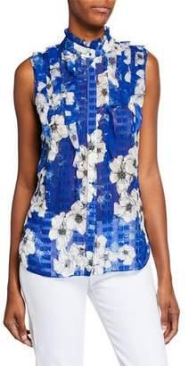 Elie Tahari Trixie Floral-Print Sleeveless Ruffle Blouse