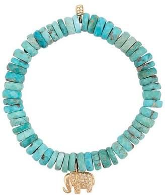 Sydney Evan 14kt yellow gold diamond elephant charm turquoise beaded bracelet