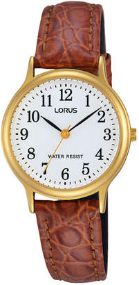 Lorus RRS60VX-9 Ladies Gold Leather Strap Watch