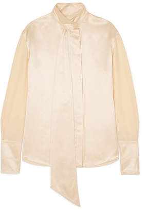 Roksanda Mila Pussy-bow Hammered Silk-satin Blouse - Cream