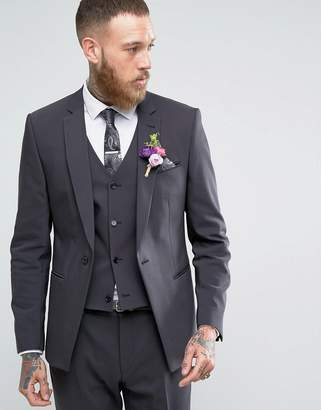 Asos DESIGN Wedding Skinny Suit Jacket With Square Hem In Charcoal