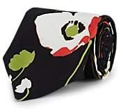 Alexander Olch Men's Floral Silk Twill Necktie - Black
