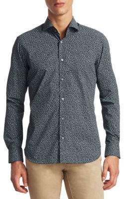Saks Fifth Avenue COLLECTION Ditsy Printed Cotton Button-Down Shirt