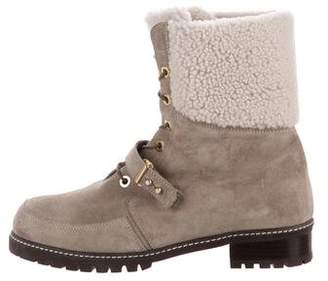 Stuart Weitzman Suede Lace-Up Mid-Calf Boots