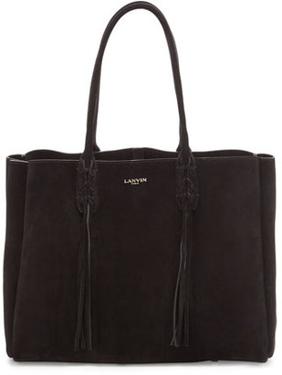 Lanvin Small Suede Fringe Tote Bag, Black $1,495 thestylecure.com