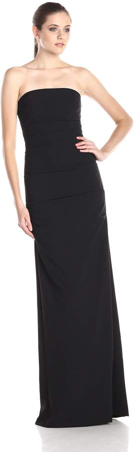 Nicole Miller Women's Felicity Techy Crepe Strapless Gown