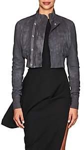Rick Owens Women's Egon Blistered Leather Crop Bomber Jacket - Iron