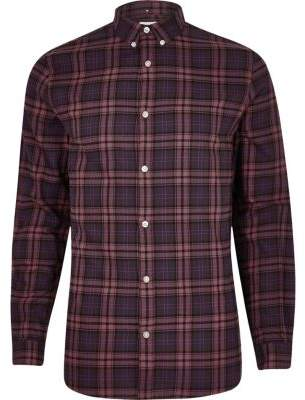 River Island Purple check long sleeve shirt