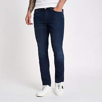 River Island Mens Dark Blue fade Dylan slim fit jeans