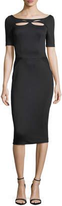 Zac Posen Bondage Jersey Short-Sleeve Cutout-Front Sheath Dress