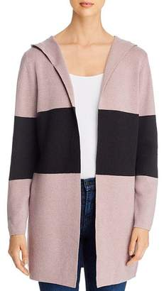 Sioni Color-Block Hooded Cardigan Sweater