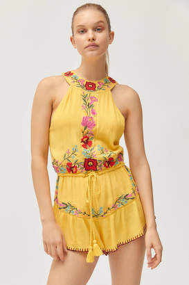 Raga Blooming Lotus Embroidered High-Neck Romper