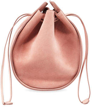 The Row Suede Drawstring Pouch Bucket Bag