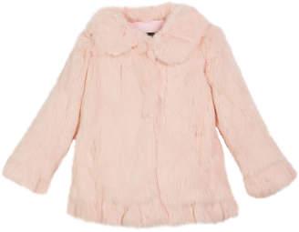 Adrienne Landau Ruffle-Hem Fur Coat, Size 2T-12Y