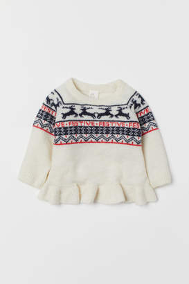 H&M Jacquard-knit Sweater - White