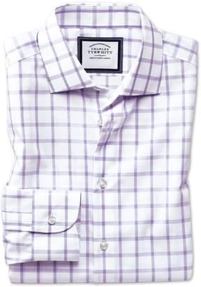 Charles Tyrwhitt Classic Fit Semi-Spread Collar Non-Iron Business Casual Purple Check Cotton Dress Shirt Single Cuff Size 16/33
