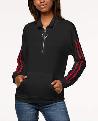 Ultra Flirt by Ikeddi Juniors' Striped Quarter-Zip Sweatshirt