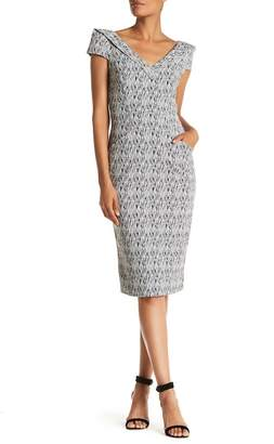 Alton Gray Foldover V-Neck Sheath Dress