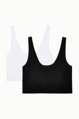 Skin - Clio Set Of Two Stretch Organic Pima Cotton-jersey Soft Cup Bras - Black