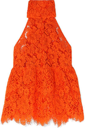 Ganni Jerome Tie-back Lace Top - Red