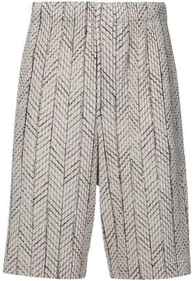 Issey Miyake Homme Plissé embroidered knee-length shorts