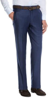 Ermenegildo Zegna Trofeo Wool Flat-Front Trousers, Blue
