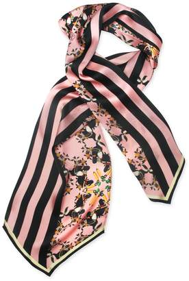 Texas and the Artichoke - Burmese Toucan Blush Long Silk Scarf