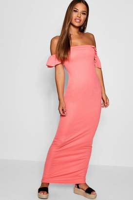 boohoo Petite Off The Shoulder Ruffle Jersey Maxi Dress