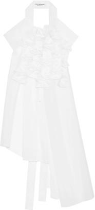 Junya Watanabe - Asymmetric Appliquéd Organza Tunic - White $1,410 thestylecure.com