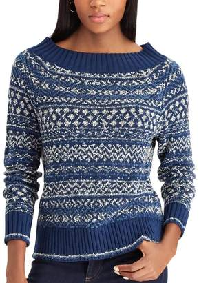 Chaps Petite Striped Scoopneck Sweater