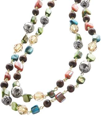 Mudd Gold Tone Beaded Long Necklace