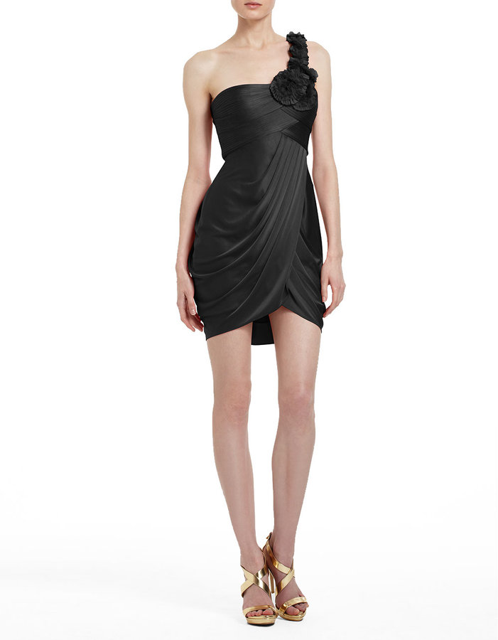 BCBGMAXAZRIA Rosette Pleated One-Shoulder Jersey Dress