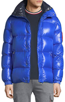 Moncler Men's Genius Dervaux Puffer Coat w/ Tuck-Away Hood