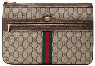 Gucci Brown Ophidia GG Supreme Leather Pouch