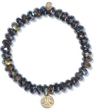 Sydney Evan Smiley Face Labradorite, Diamond And 14-karat Gold Bracelet