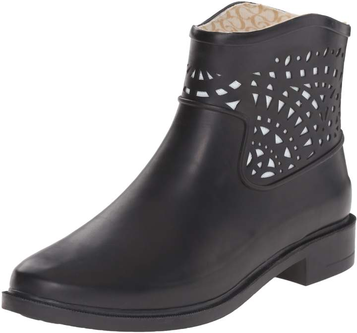 Chooka Women's Deco Laser Cut Bootie Ankle Rain Boot