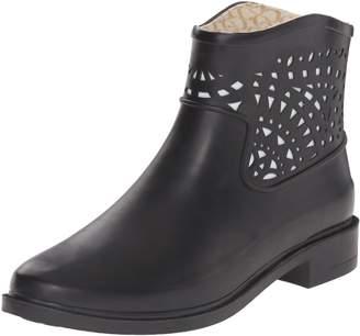 Chooka Women's Deco Laser Cut Bootie Ankle Rain Boot