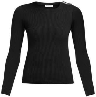 Balenciaga Ribbed Knit Sweater - Womens - Black
